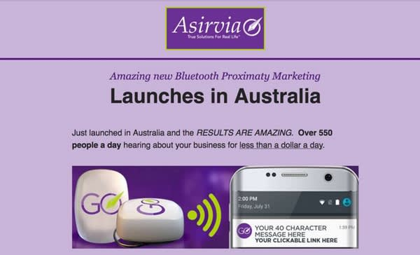 Image of product launch information with text Launches in Australia