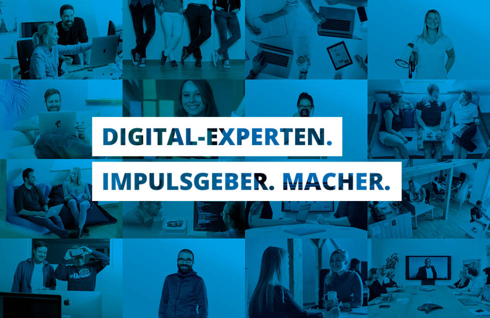 "Image of people with ""digital-experten. Impulsgeber. Macher."" written on it"