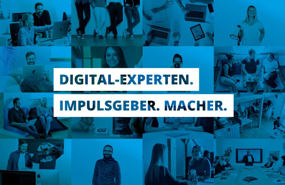 """Image of people with """"digital-experten. Impulsgeber. Macher."""" written on it"""