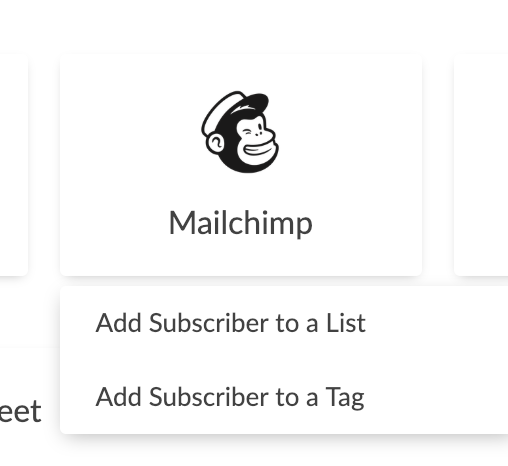 Image of mailchimp logo with the text add subscriber to a list, and add subscriber to a tag.
