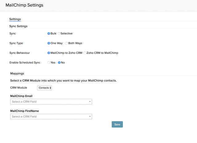 Image of Mailchimp settings in Zoho CRM