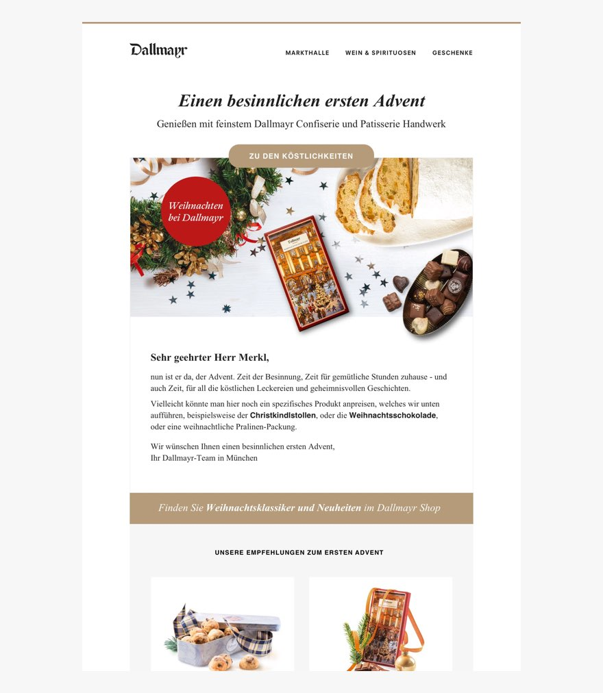 Screenshot of holiday themed newsletter. Image header includes holiday decorations like a wreath and assorted baked holiday treats and chocolates.