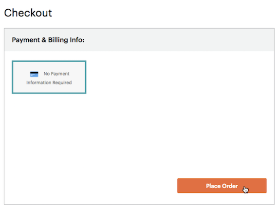 El cursor hace clic en el botón place order (realizar pedido).