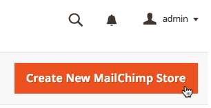 Cursor clicks create new mailchimp store button.