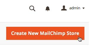 El cursor hace clic en el botón create new mailchimp store (Crear nueva tienda de Mailchimp).
