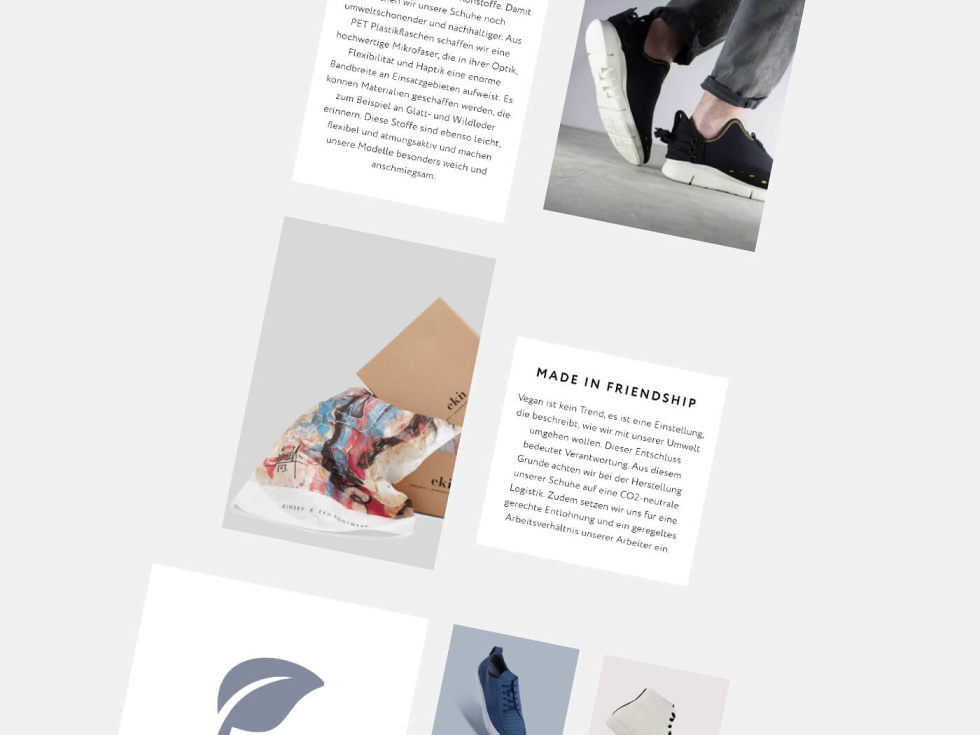 Template layout for apparel e-commerce site. Several blocks against a grey background featuring images of products or text boxes.
