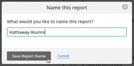 Name report pop-up modal with example name and cursor over the Save Report Name button.