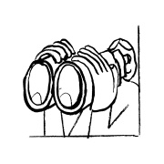 Illustration of a person looking through binoculars
