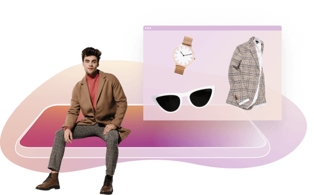 Image of a person  sitting on a cartoon platform with a watch sunglasses and a jacket in a box