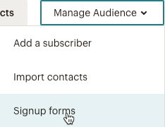 manage-audience-signup-forms-drop-down