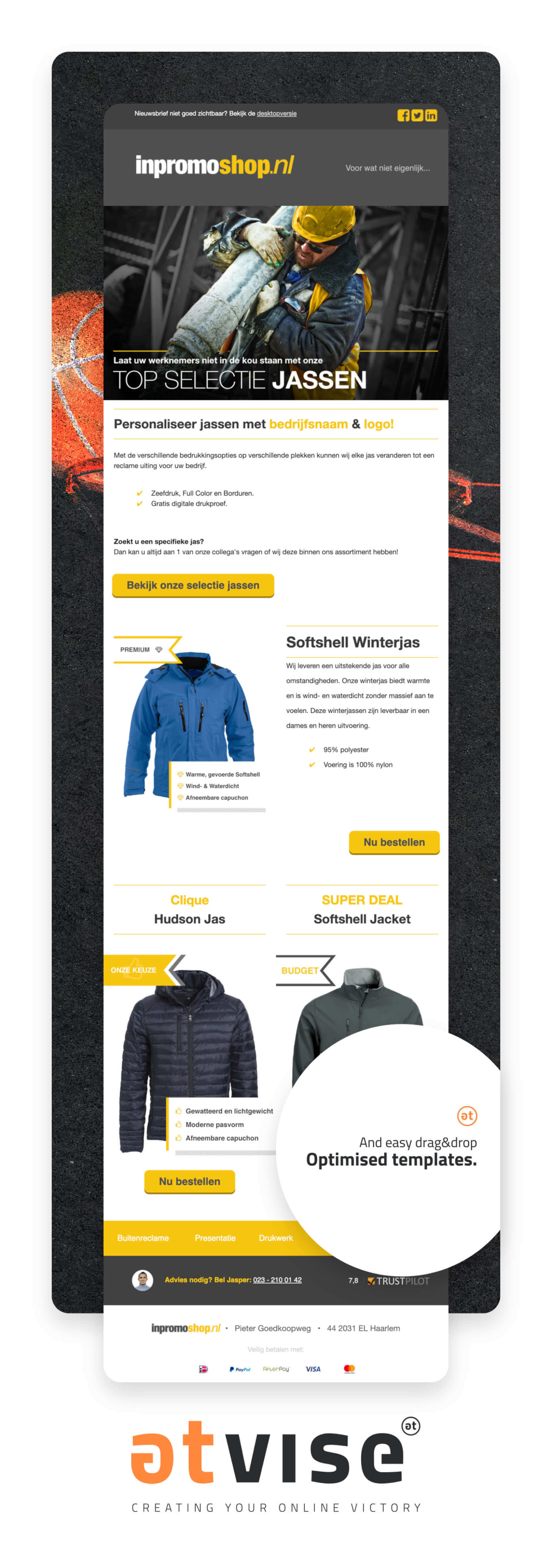 Newsletter template for winter jacket brand. Images of jackest with short descriptions and deals.