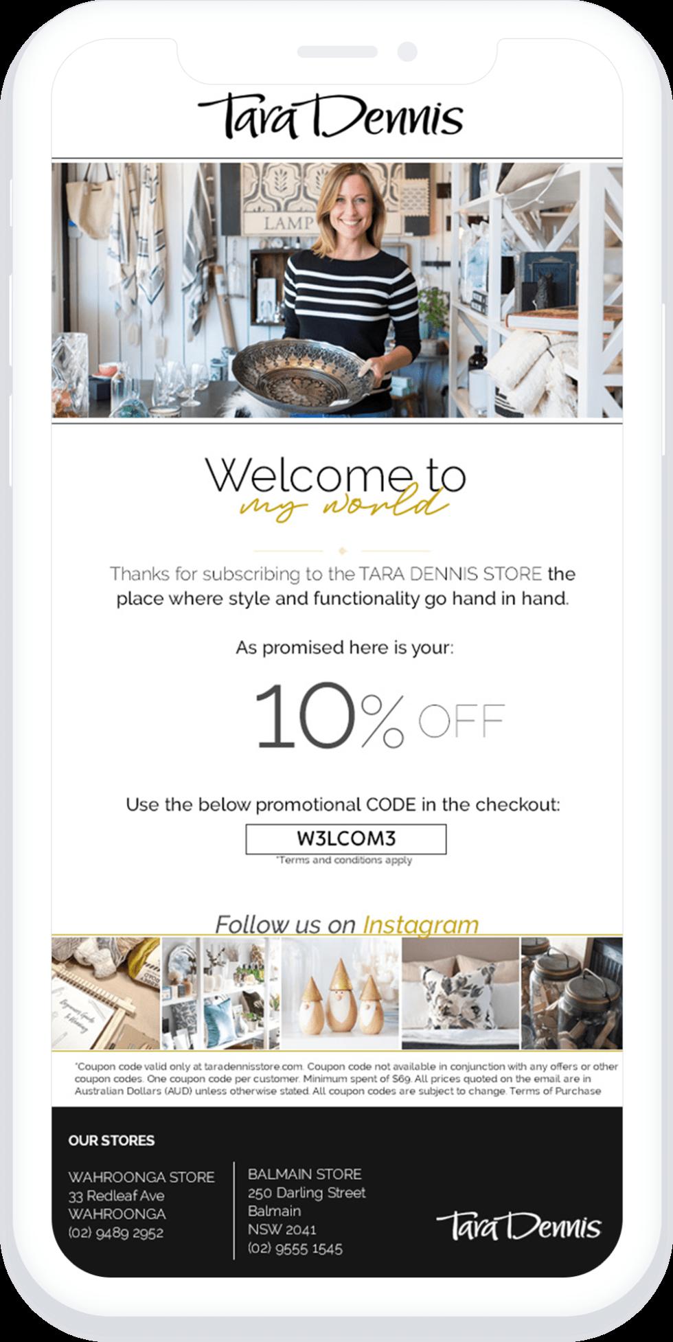 Image of Tara Dennis 10% off coupon code
