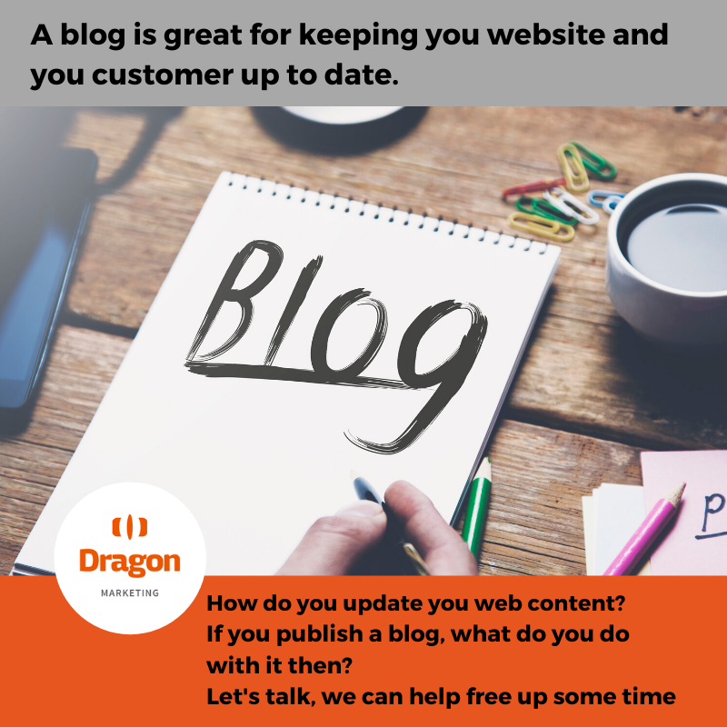 Image of a notepad with the text BLOG on it and then the text a blog is great for keeping you website and you customer up to date.