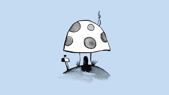 Illustration of mushroom home on blue background.
