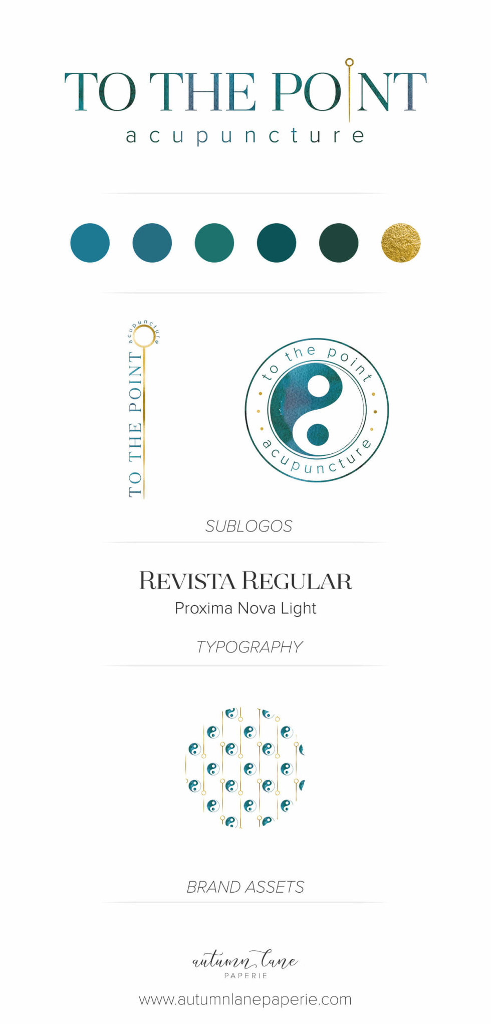 Branding examples featuring logo design, typography, color scheme examples, sublogos, and other brand assets.