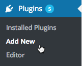 Image: a screenshot of the cursor clicking Add New in the Plugins section