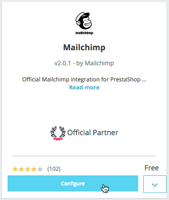 Configure Mailchimp for Prestashop - cursore clicks - configure