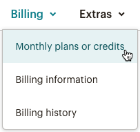 Billing drop-down with cursor on monthly plans or credits