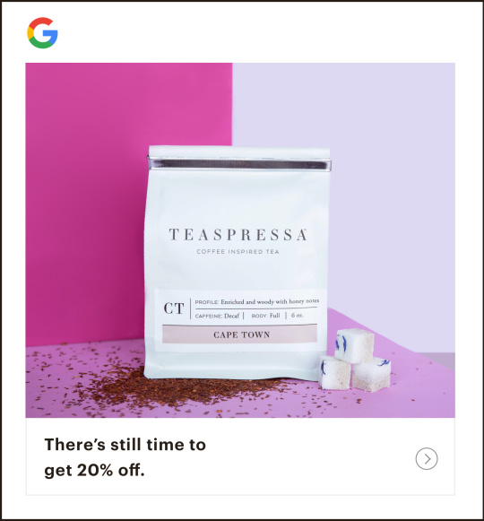 Example of a Google remarketing ad that reads there's still time to get 20% off.