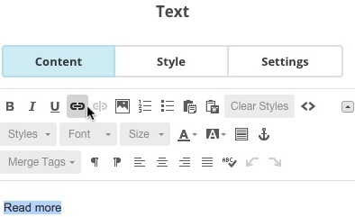 Highlighted text and link text icon