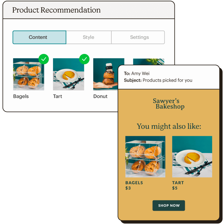 Product recommendation options with email showing selected product recommendations.