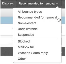 Screenshot of the display dropdown menu in constant contact.