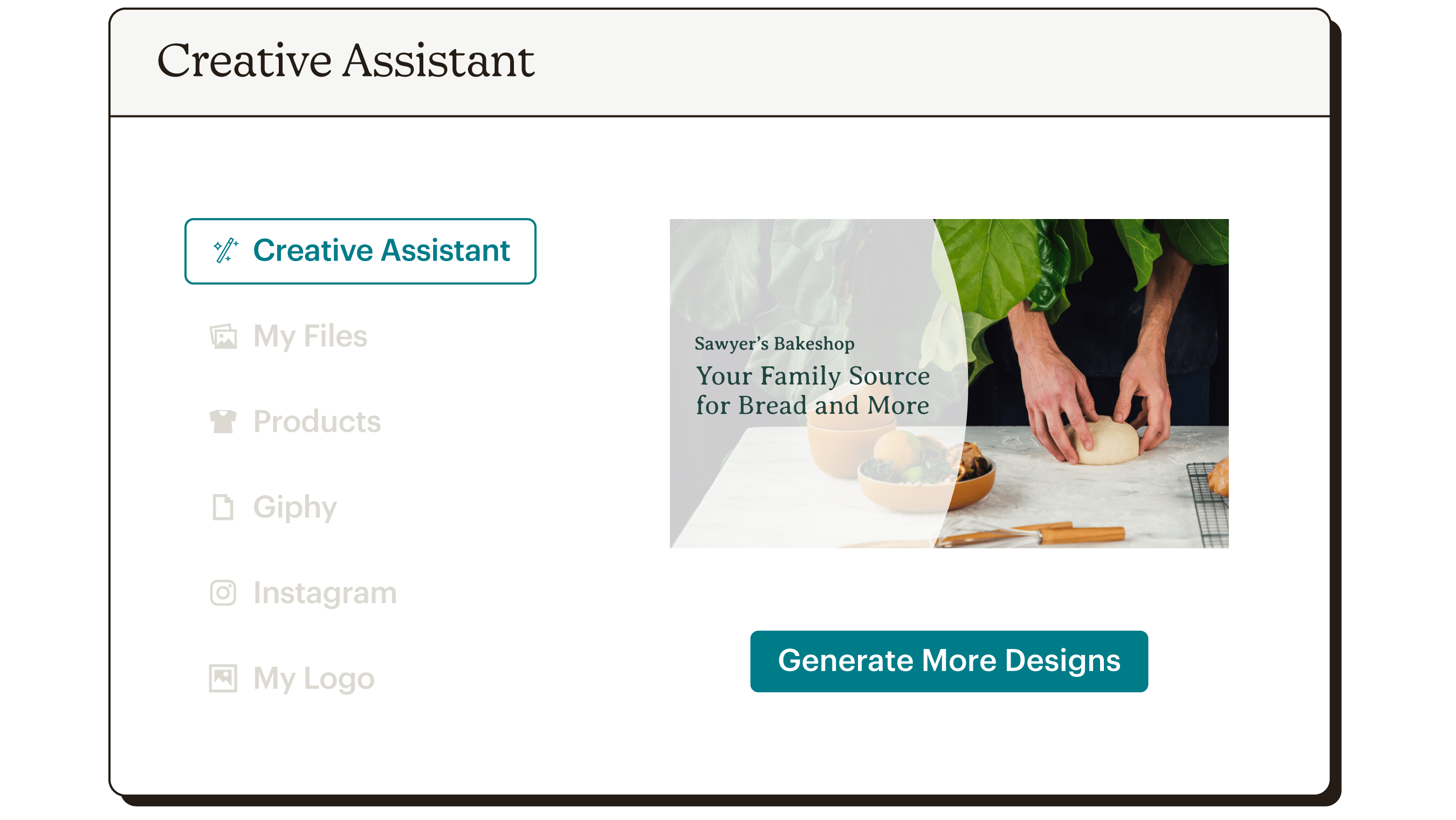 Creative Assistant UI Sawyer's Bakeshop Static
