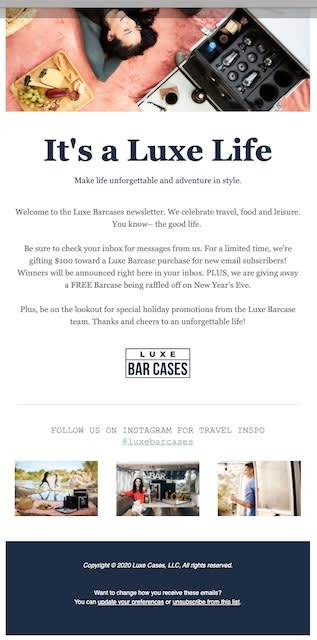 Image of Luxe Bar Cars newsletter
