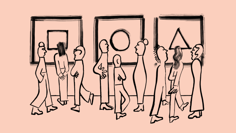 Illustration that shows people looking around in an art gallery