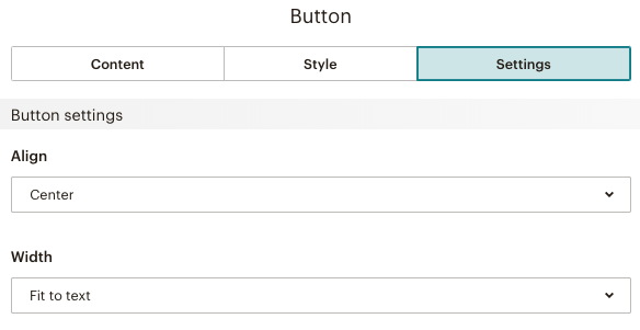 Set preferences for Settings for Button content block