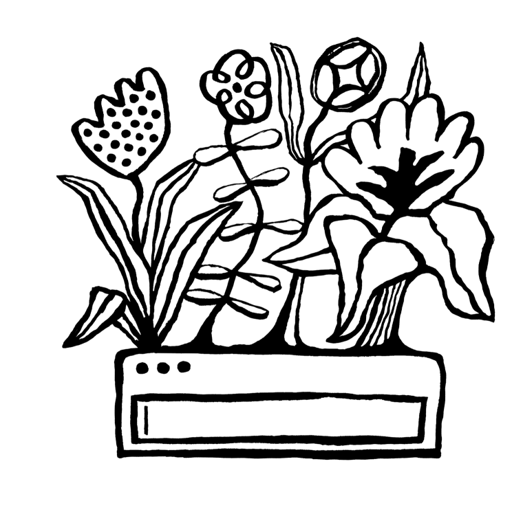 Illustration of a search bar with flowers growing out of it