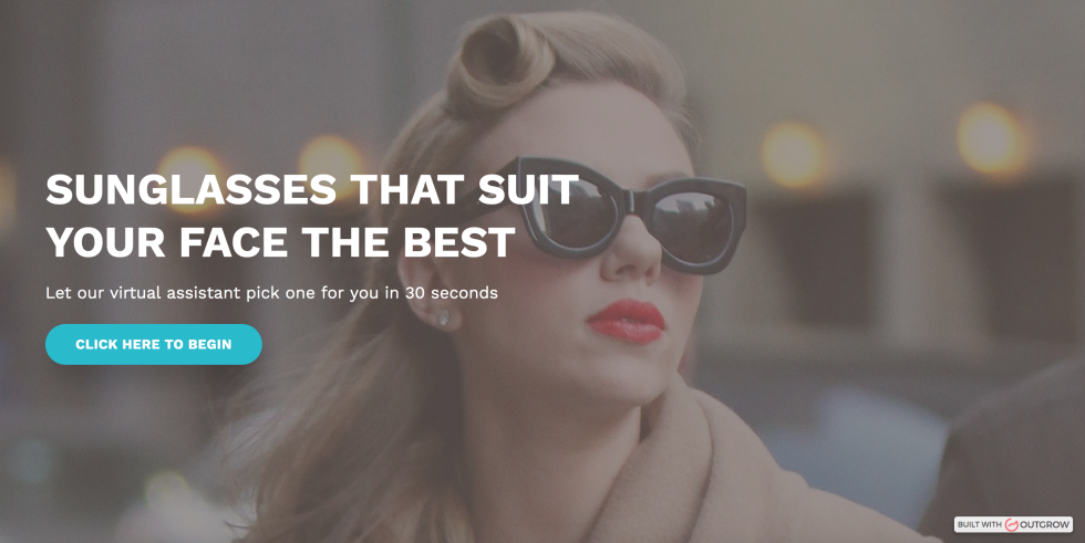 Image of lady with sunglasses on and the text sunglasses that suit your face the best