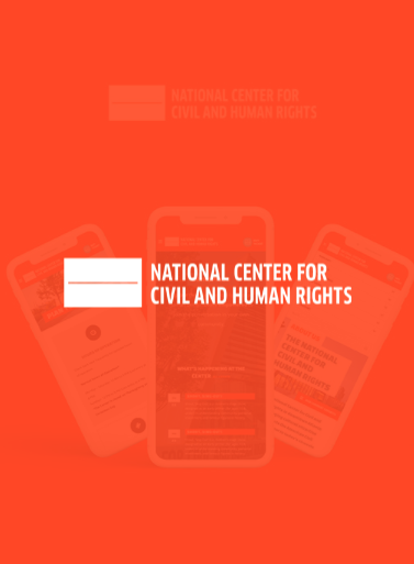 Image of a orange background with the text Nation Center for Civil and Human Rights