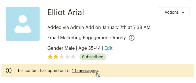 Example of contact profile details, including profile picture, name, email marketing engagement status, contact origin, predicted demographics, contact rating, and other email preference labels