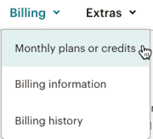 billing drop-down menu with cursor over monthly plans or credits