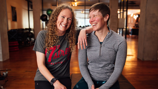 A photograph of 17th Street Athletic Club co-founders and fitness coaches Shannon Boughn and Marissa Axell