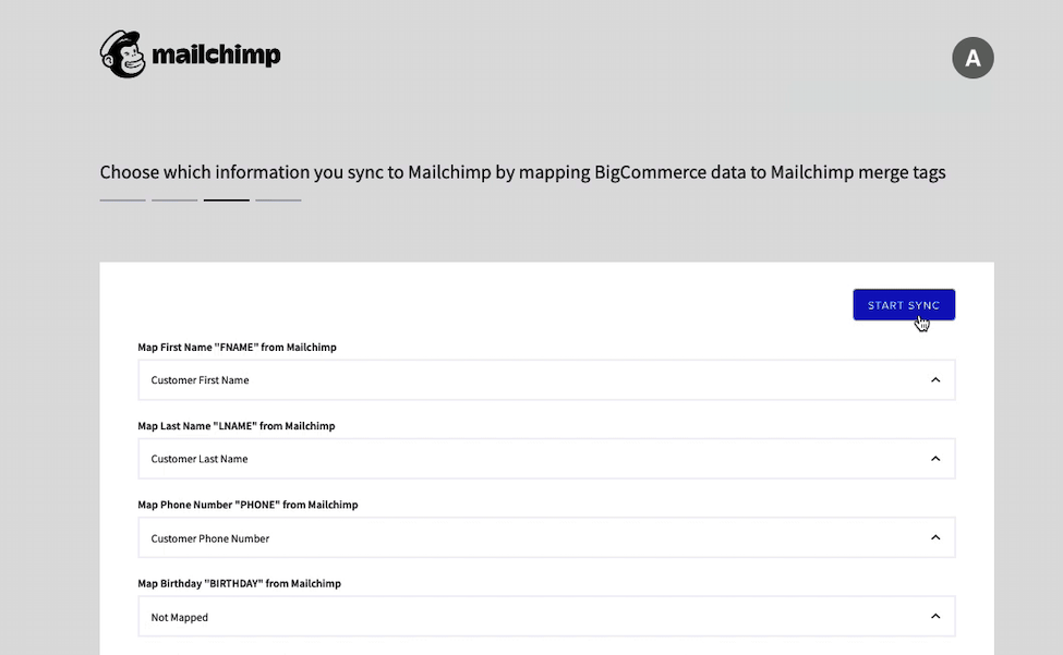 Mailchimp for BigCommerce - Merge Tags - Cursor Clicks Start Sync
