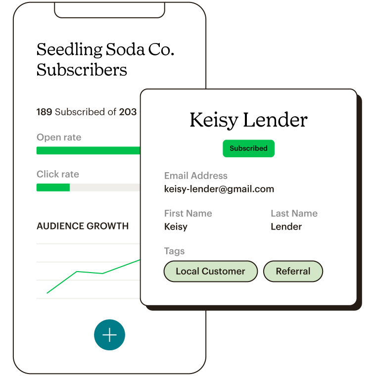Mailchimp mobile app showing subscribers dashboard and highlight of a contacts profile with contact information and tags.