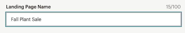Landing Page Name