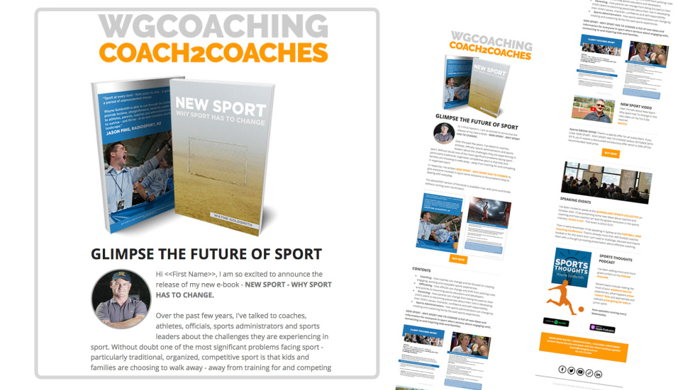 Image of WGCOACHING newsletter with the text glimpse the future of sport