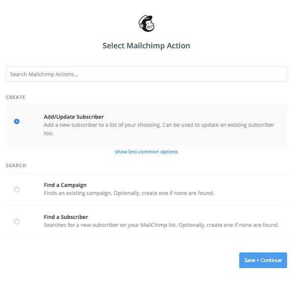 Select Mailchimp Action (Sélectionner une action Mailchimp) dans Zapier