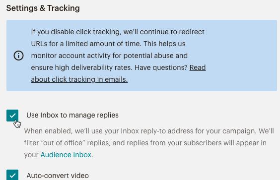 Inbox campaign checkbox