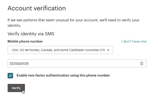 SMS text verification field with cursor on Verify button.