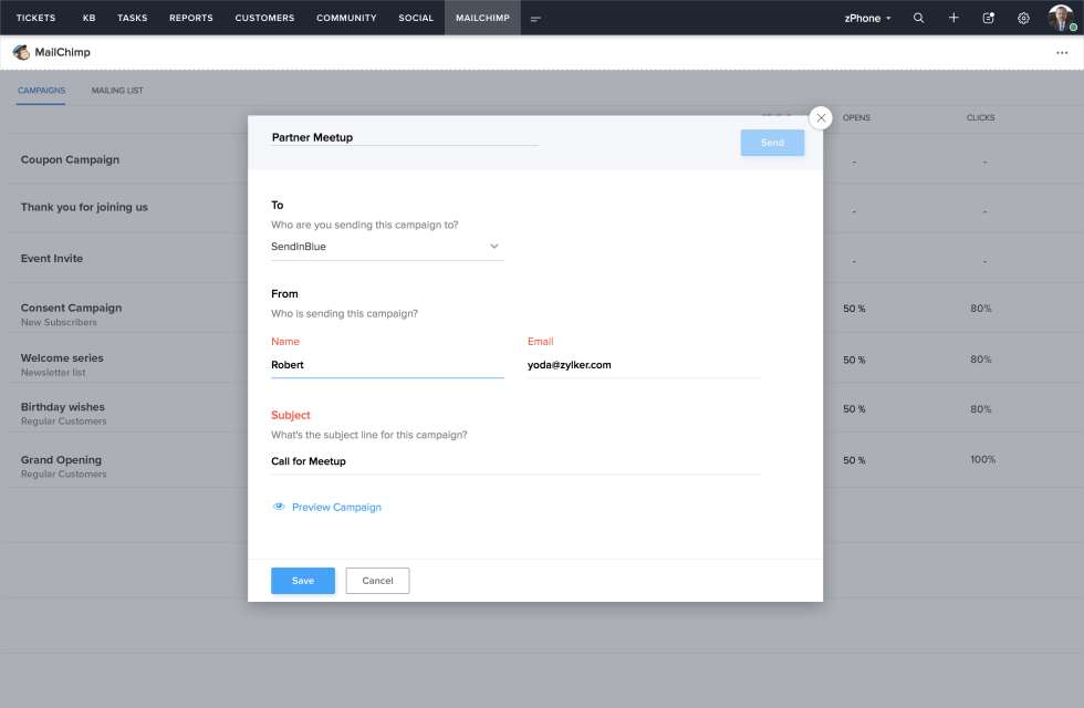 Image of Zoho Desk dashboard with campaign send option