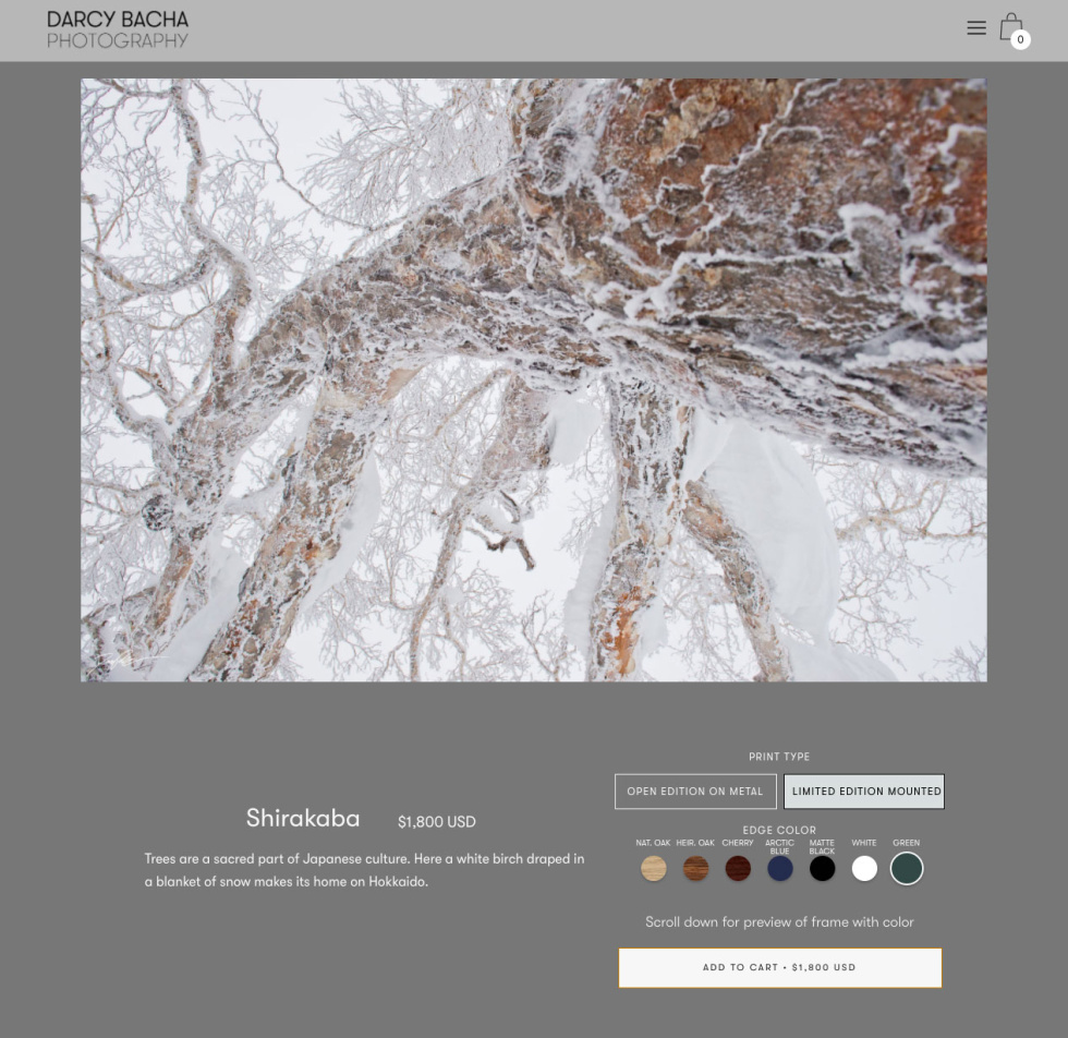 Ecomm store layout featuring dark grey background, light grey horizontal navigation bar at the top. Most of screenshot includes centered photograph of a tree covered in snow. At the bottom is contact information.