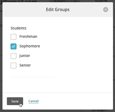 Cursor clicking button to save groups.