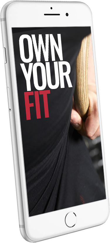 Image of smartphone with the words Own Your Fit