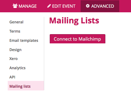 Image of option to connect Mailchimp to Mailing lists