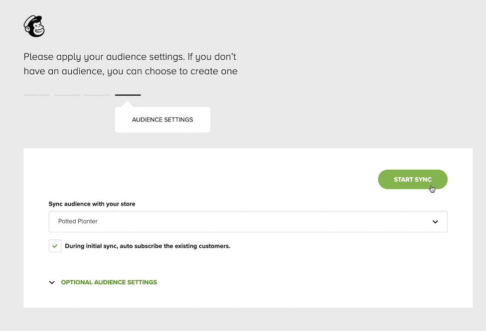 Mailchimp para WooCommerce - guia Audience Settings (Configurações do público) - Cliques do cursor - Iniciar sincronização