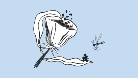 Drawing of a flower sharing pollen with a bug.